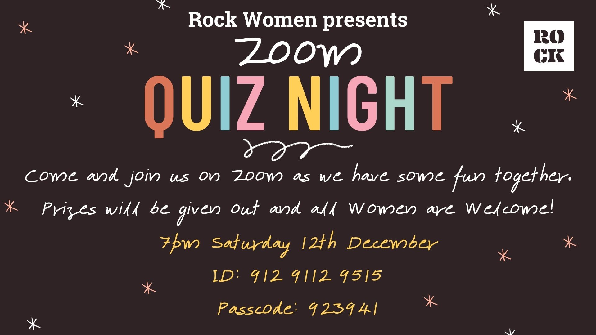 Rock Women's Zoom Quiz Night - 7pm Saturday 12th December 2020